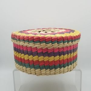 Vintage Straw Basket with Lid Multicolored BOHO